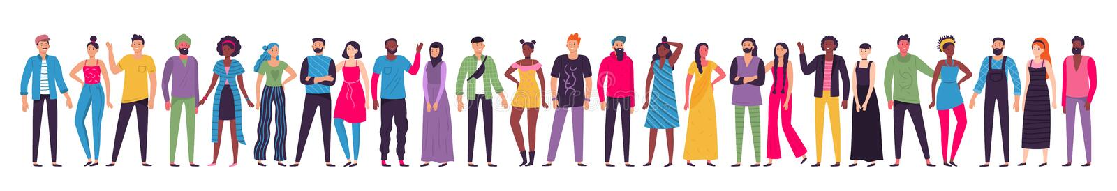Multicultural people group. Adult citizens, workers team standing together and multiethnic society vector illustration. Multicultural people group. Adult vector illustration