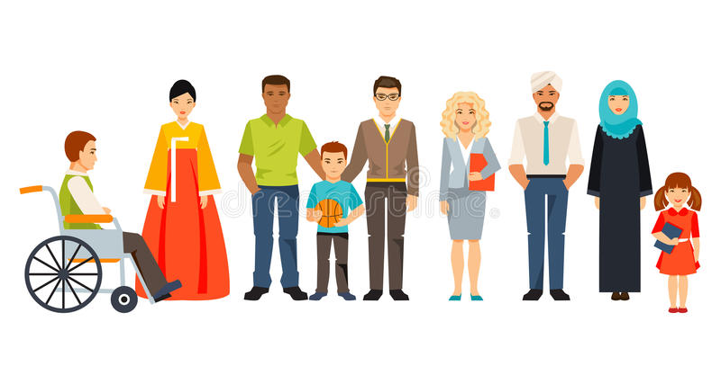 Multicultural society. Group of different people vector illustration