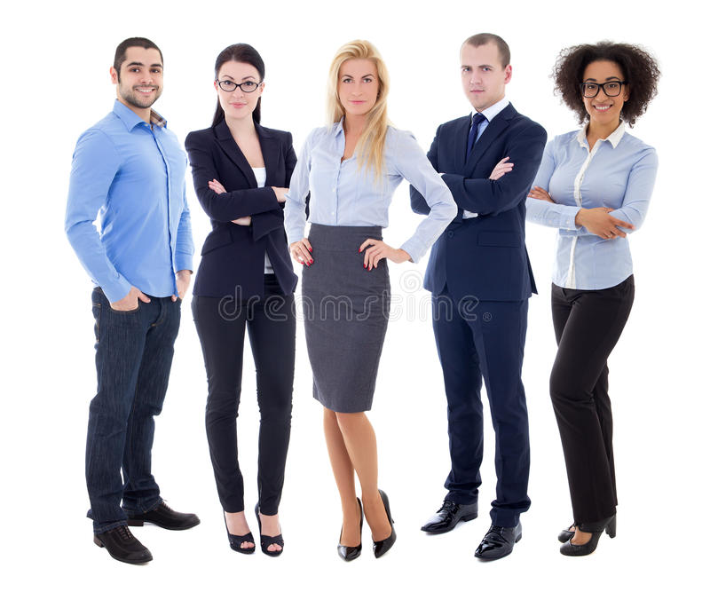 multicultural team - full length portrait of young business people isolated on white royalty free stock images
