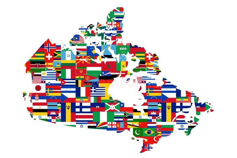 Multiculturele Canadese Kaart royalty-vrije illustratie