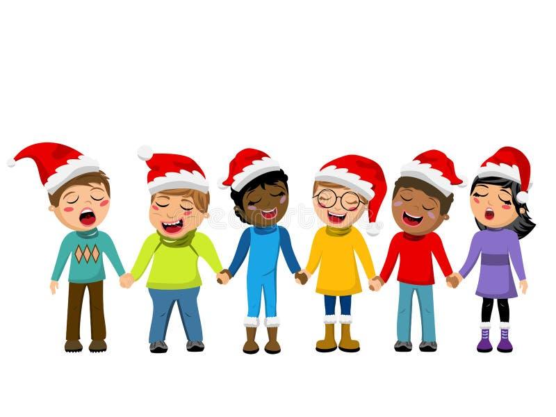 Multiculturele van de hoeden zingende Kerstmis van jonge geitjeskerstmis geïsoleerde de hymnehand stock illustratie