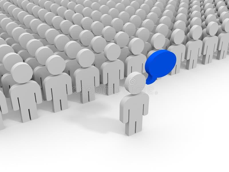 Multidão abstrata dos povos 3D líder ilustração stock