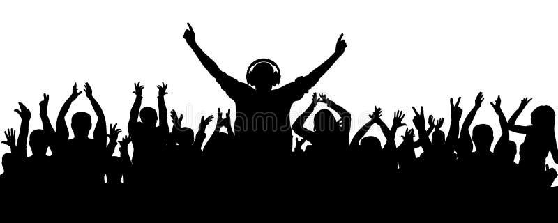 A multidão alegre aplaudiu o DJ Aplauso, um partido, um concerto ilustração stock