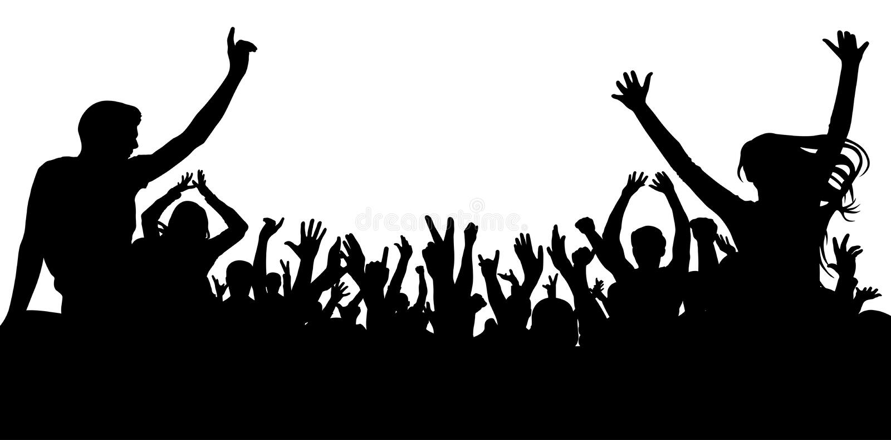 Multidão alegre dos povos, silhueta Partido, aplauso ilustração do vetor