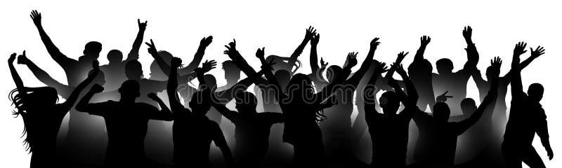 Multidão alegre que aplaude, silhueta dos povos ilustração royalty free