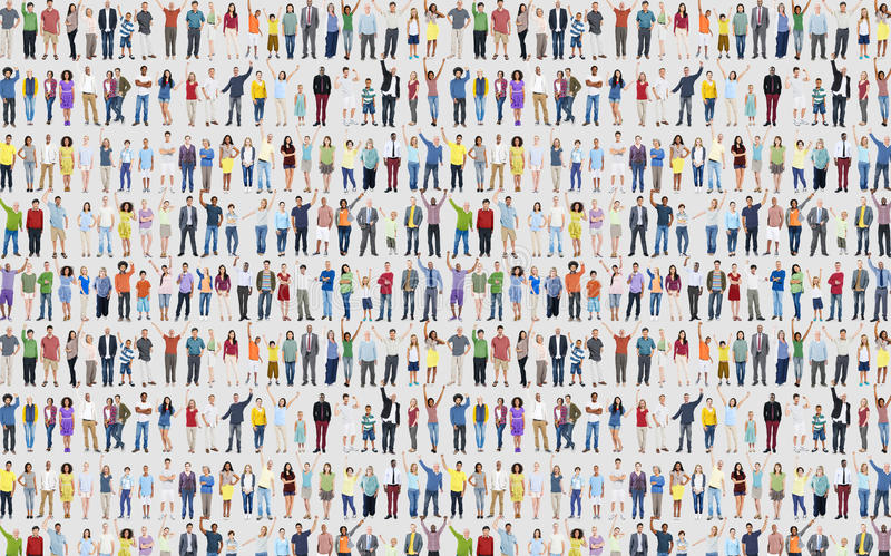 Multidão C da comunidade da felicidade da celebração do sucesso da diversidade dos povos fotografia de stock royalty free