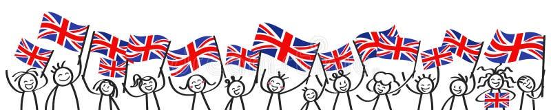 A multidão Cheering de vara feliz figura com as bandeiras nacionais britânicas, suportes de Grâ Bretanha que sorriem e que acenam ilustração stock