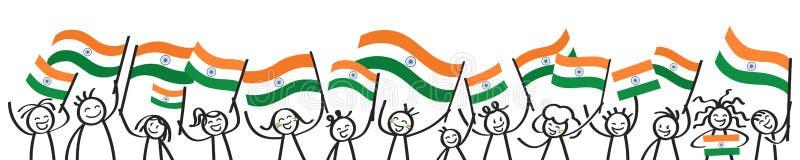 A multidão Cheering de vara feliz figura com as bandeiras nacionais indianas, suportes de sorriso da Índia, fãs de esportes ilustração royalty free