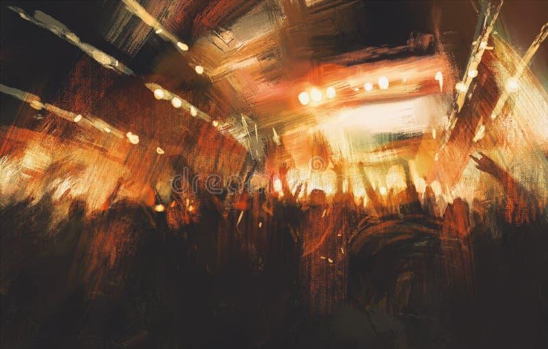 Multidão Cheering no concerto ilustração royalty free