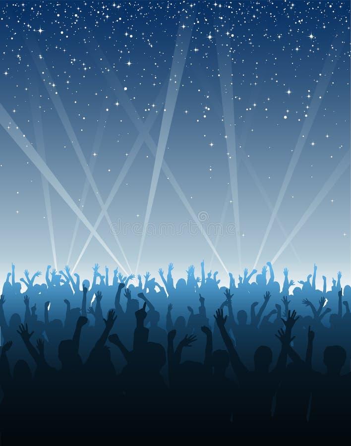 Multidão Cheering sob estrelas ilustração do vetor