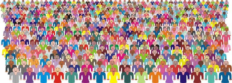 Multidão colorida de povos ilustração do vetor