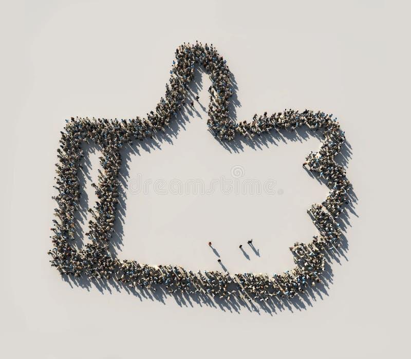 Multidão como o símbolo dos The Like ilustração stock