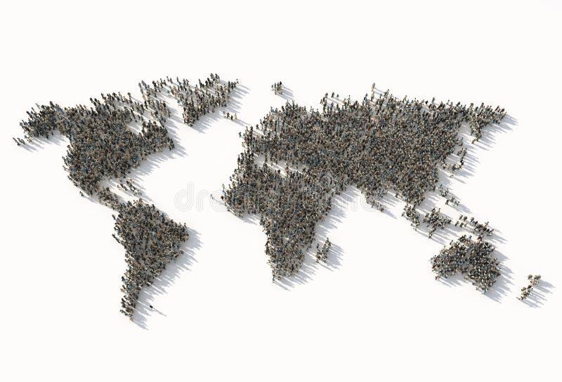 Multidão como um mapa do mundo ilustração royalty free