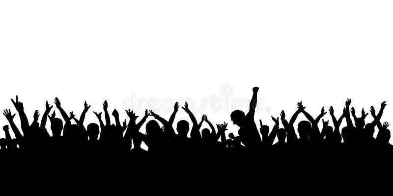 Multidão da silhueta que cheering, no fundo branco ilustração stock