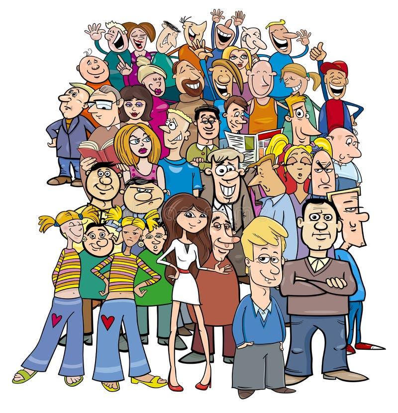 Multidão de caráteres dos povos dos desenhos animados ilustração royalty free