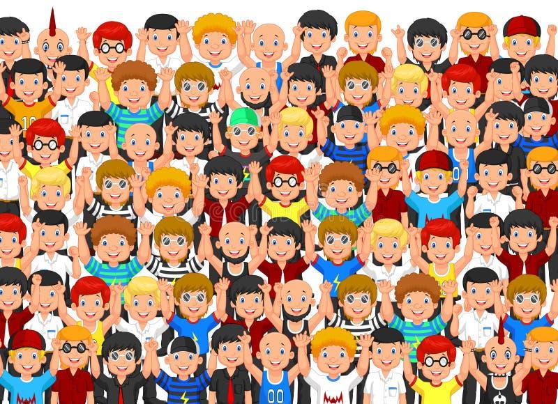 Multidão de Cheering dos povos ilustração royalty free