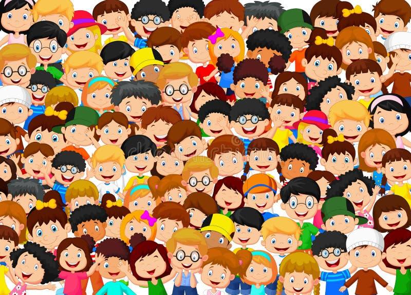 Multidão de desenhos animados das crianças ilustração stock
