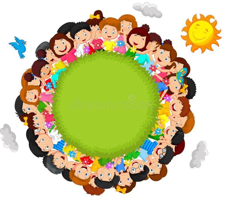 Multidão de desenhos animados das crianças ilustração do vetor