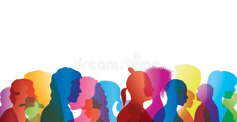 Multidão de fala Diálogo entre povos Perfis coloridos da silhueta Fala dos povos ilustração royalty free