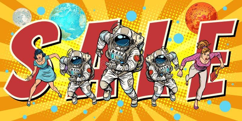 Multidão de mulheres e de astronautas que correm a venda ilustração do vetor