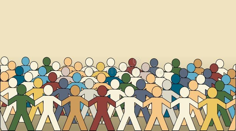 Multidão de Paperchain ilustração do vetor