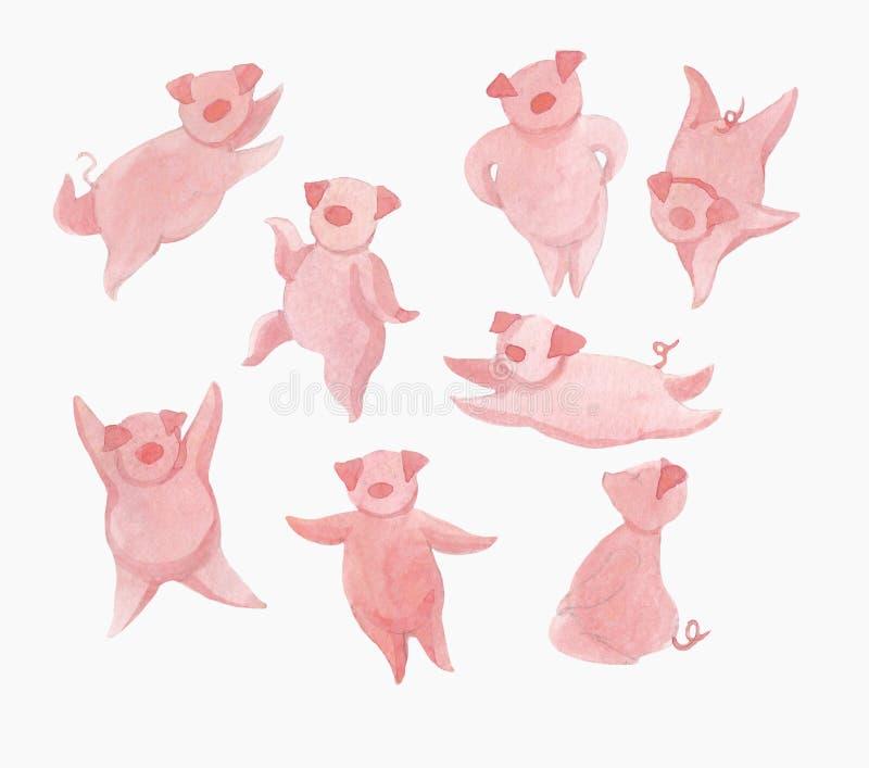 Multidão de porcos cor-de-rosa alegres ilustração do vetor