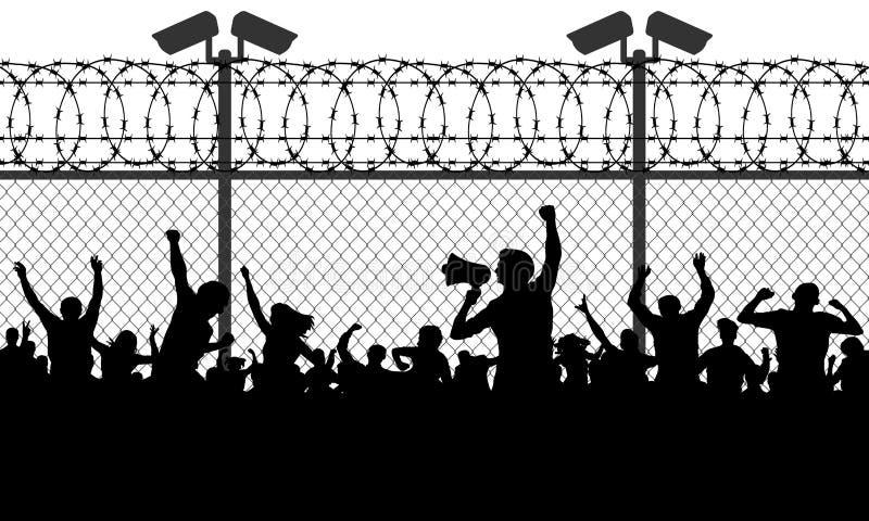Multidão de povos atrás das barras que exigem abrir a beira ilustração do vetor