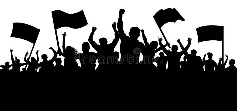 Multidão de povos com bandeiras, bandeiras Esportes, multidão, fãs Demonstração, manifestação, protesto, greve, revolução ilustração stock