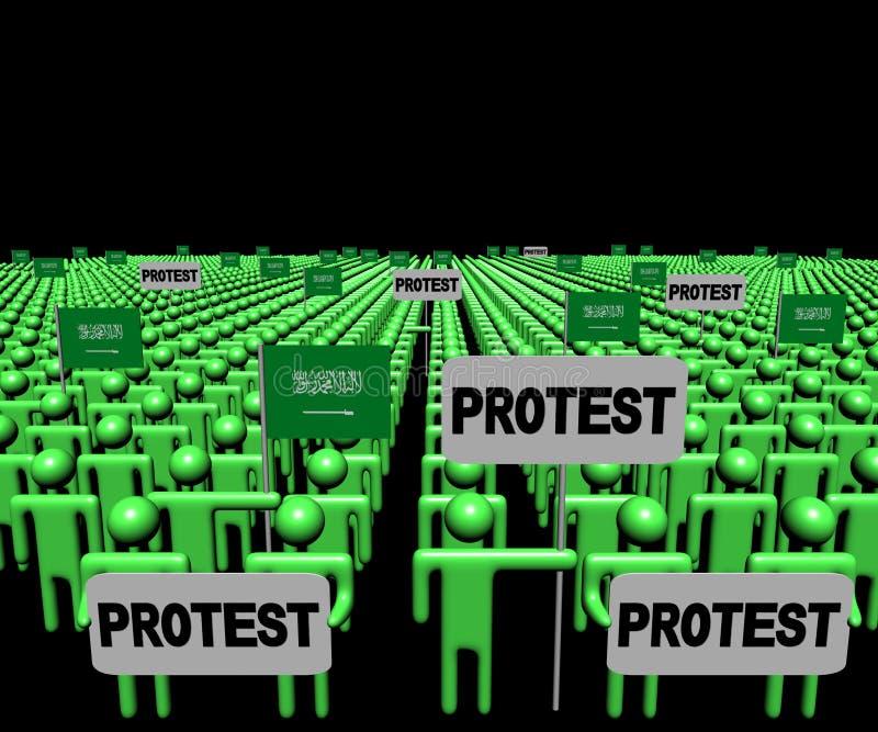A multidão de povos com sinais do protesto e Arabian de Saudia embandeira a ilustração ilustração stock