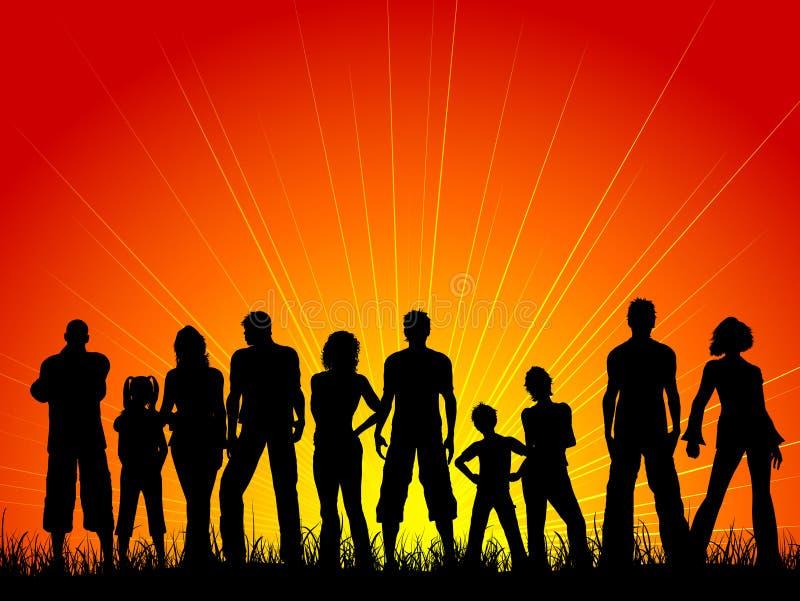 Multidão de povos de encontro a um céu do por do sol ilustração stock