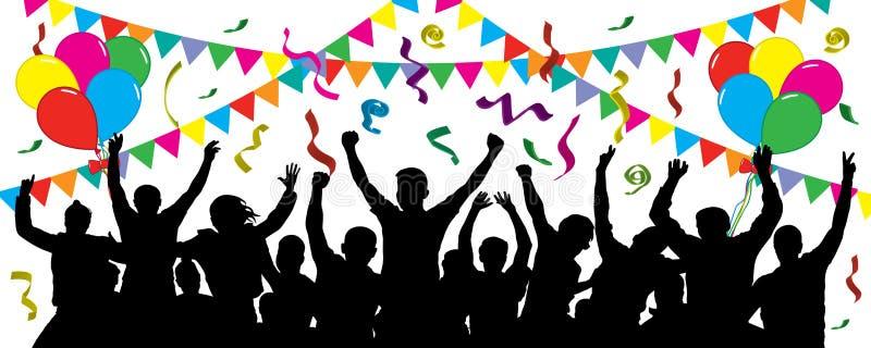 Multidão de povos do divertimento no partido, feriado Evento alegre Povos que têm a comemoração do divertimento ilustração royalty free