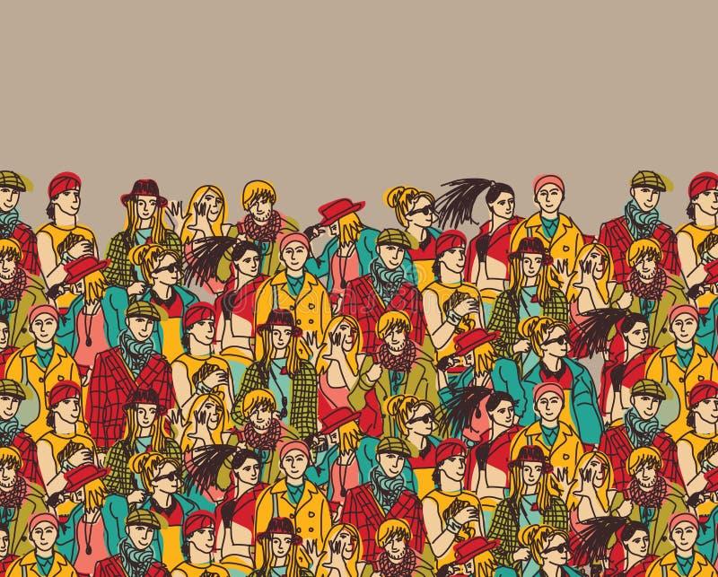 Multidão de povos na moda e de cor bege ilustração do vetor
