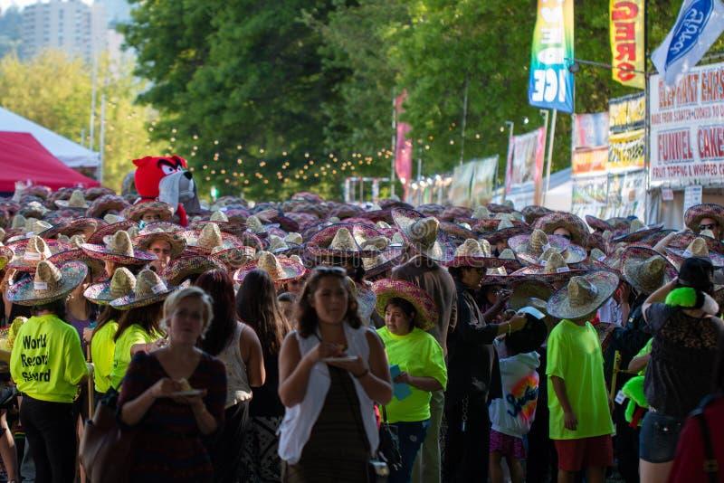 Multidão de povos no cinco de Mayo fotografia de stock