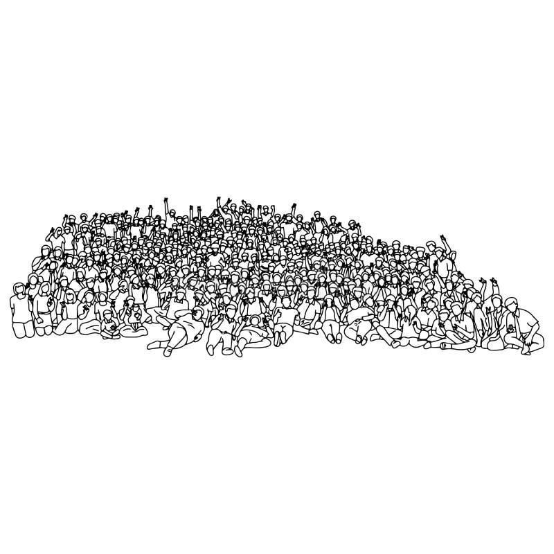 Multidão de povos que mostram o sinal da vitória com a mão da garatuja do esboço da ilustração do vetor do gesto de mão tirada co ilustração stock