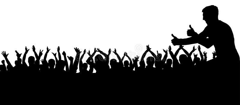 Multidão de silhueta de aplauso dos povos Cheering dos povos da multidão da silhueta ilustração stock