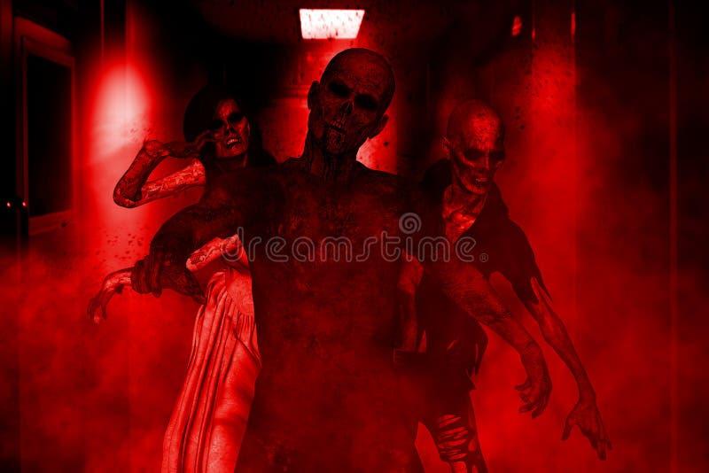 Multidão de zombis ilustração royalty free