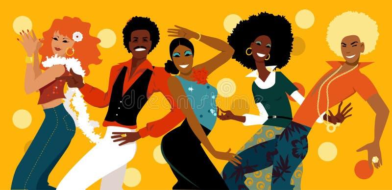 multidão do clube do disco dos anos 70 ilustração royalty free