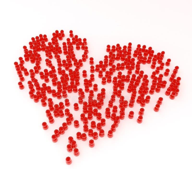 Multidão do coração ilustração stock