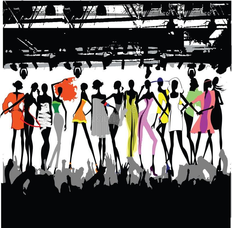 Multidão do desfile de moda ilustração do vetor