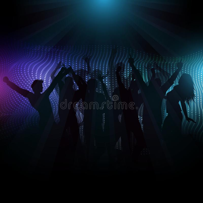 Multidão do disco no fundo abstrato com raios claros ilustração do vetor