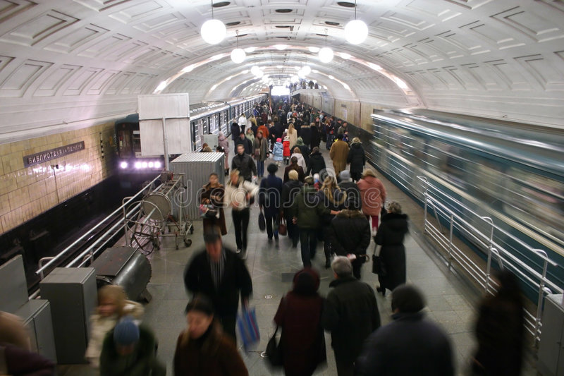 Multidão do metro imagem de stock