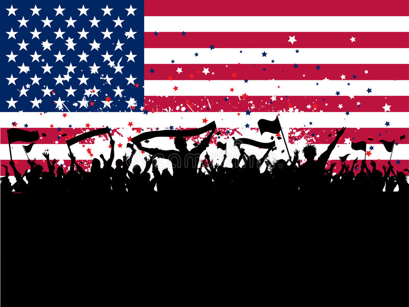 Multidão do partido em um fundo da bandeira americana ilustração do vetor