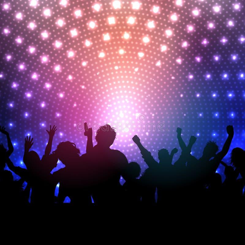 A multidão do partido no disco ilumina o fundo ilustração royalty free