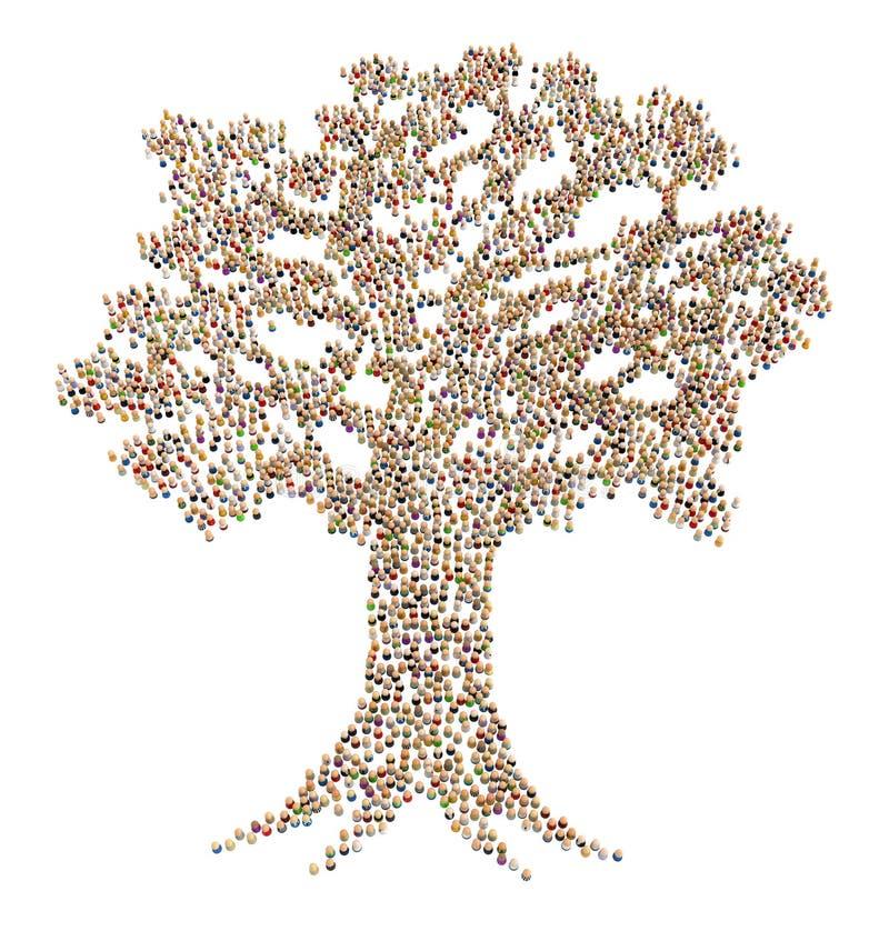 Multidão dos desenhos animados, árvore ilustração royalty free