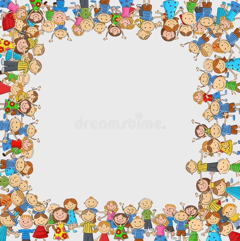 Multidão dos desenhos animados de crianças com um espaço vazio em forma de caixa ilustração royalty free