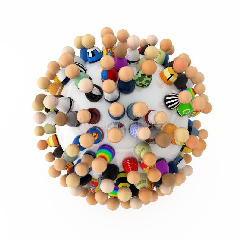 Multidão dos desenhos animados, esfera ilustração do vetor