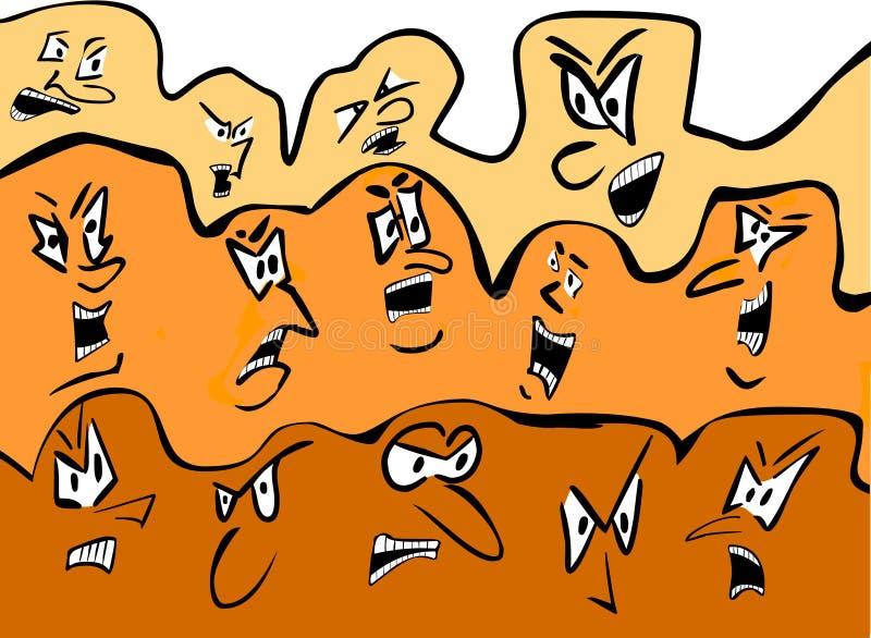 Multidão dos desenhos animados - faces irritadas ilustração royalty free