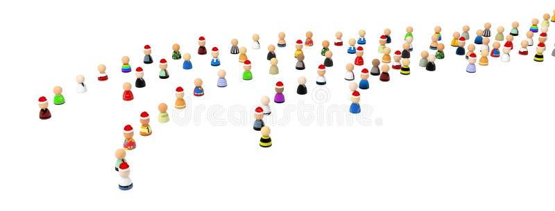 Multidão dos desenhos animados, filas do modo do Natal ilustração do vetor