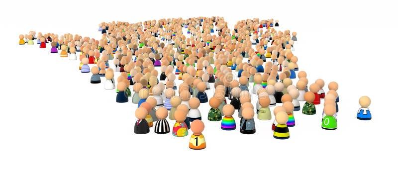 Multidão dos desenhos animados, muitas ilustração stock