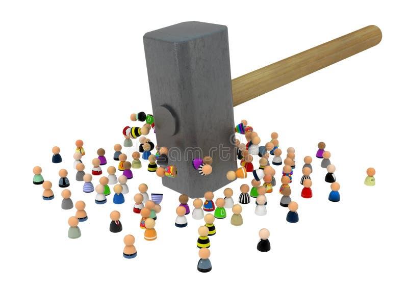 Multidão dos desenhos animados, parte dianteira do sopro de martelo ilustração stock